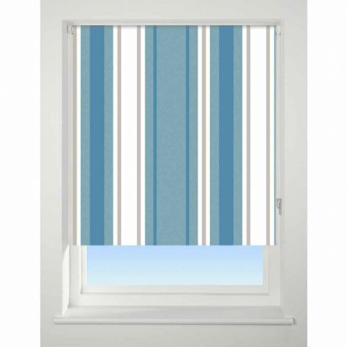 Universal Patterned Blackout Roller Blind - Stripe Blue